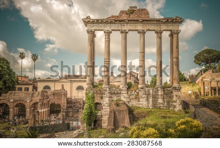 Retro style image of ancient roman forums in Rome, Italy - stock photo