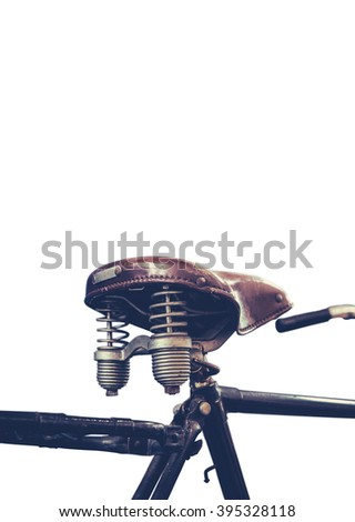 Retro Style Isolated Detail Of A Vintage Black Bicycle Saddle And Springs On A White Background - stock photo