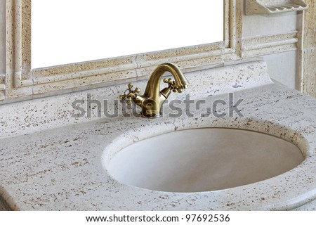 Retro style marble sink with brass faucet