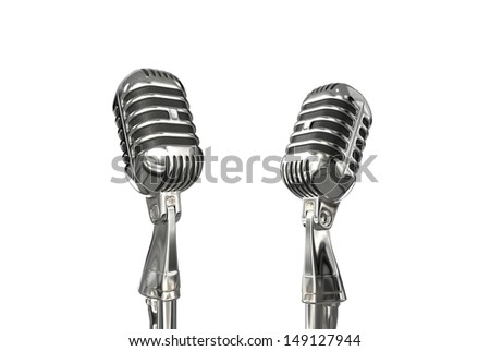 Retro style microphone - stock photo
