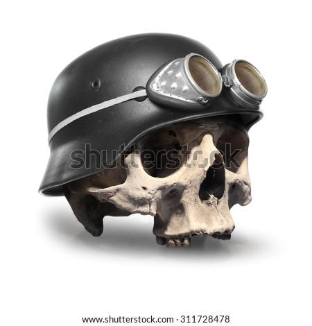 Retro style motorcycle helmet on the skull isolated on white background.  - stock photo