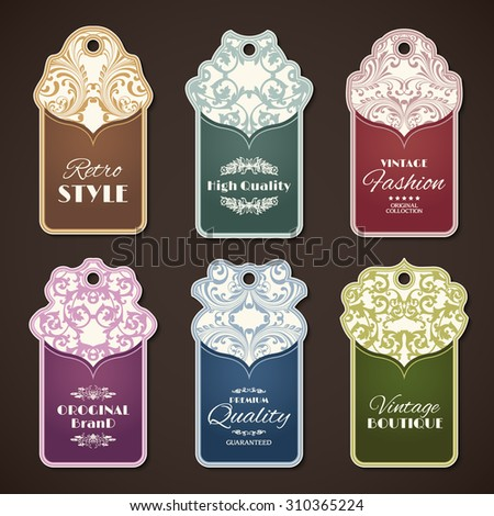 Retro style original brand vintage boutique labels set isolated  illustration - stock photo