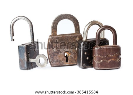 Retro style padlocks. metal textures and pattern. one opened, three closed.