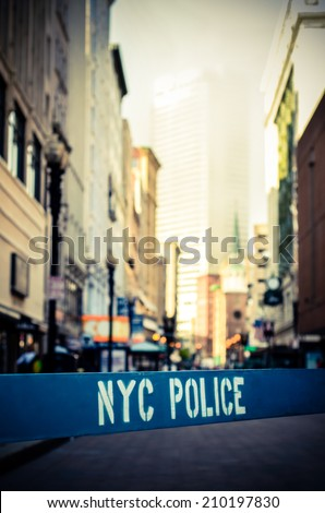 Retro Style Photo Of A Police Barrier At A Crime Scene In New York City - stock photo