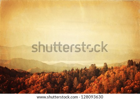 Retro style photo of Great Smoky Mountains National Park, Tennessee, USA - stock photo