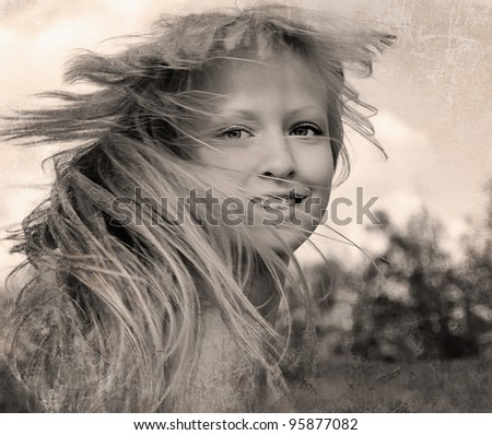 Retro style photo of happy girl with flying hair - stock photo
