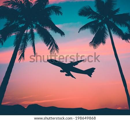 Retro Style Photo Of Plane Over Tropical Scene - stock photo