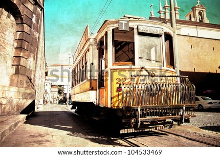 retro style picture of an ancient tram in Porto Portugal