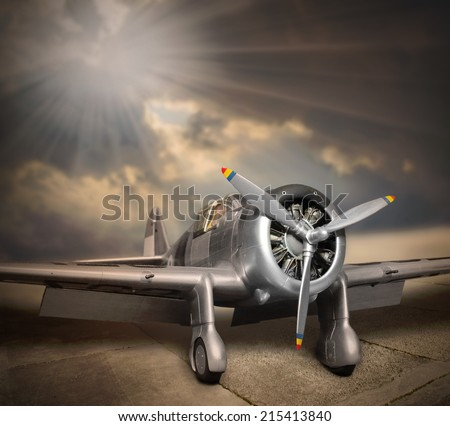 Retro style picture of the aircraft.  - stock photo