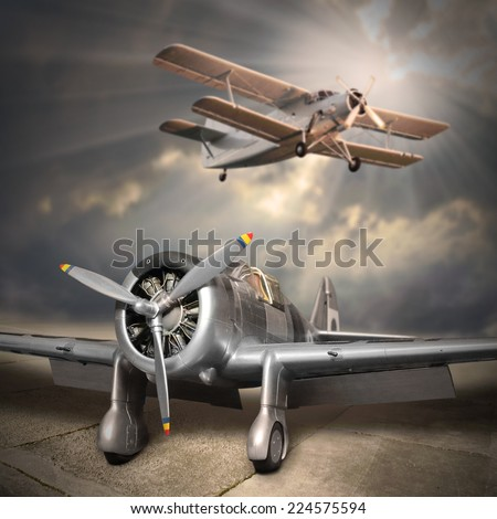Retro style picture of the aircrafts. - stock photo
