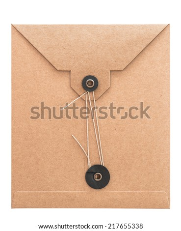retro style post mail envelope isolated on white background. recycled cardboard paper - stock photo