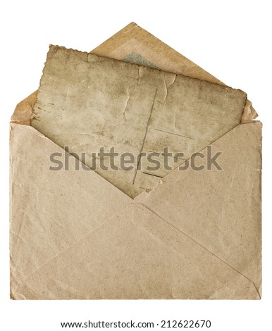 retro style post mail envelope with letter postcard isolated on white background - stock photo