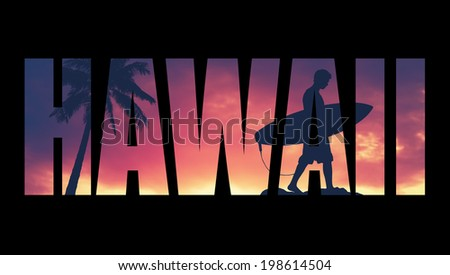 Retro Style Postcard For Hawaii WIth Palm Tree And Surfer - stock photo