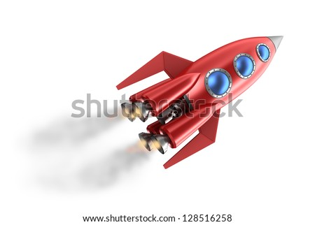 Retro style rocket. - stock photo