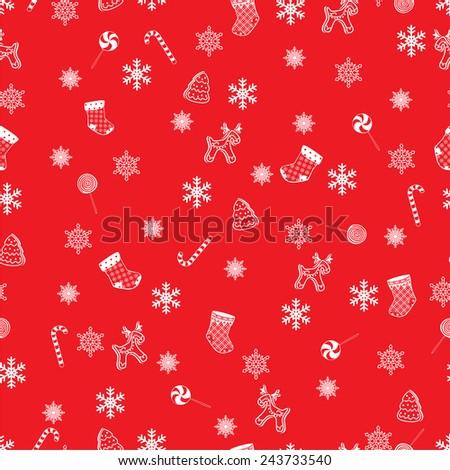 Retro Style Seamless Christmas Pattern.  Raster version - stock photo