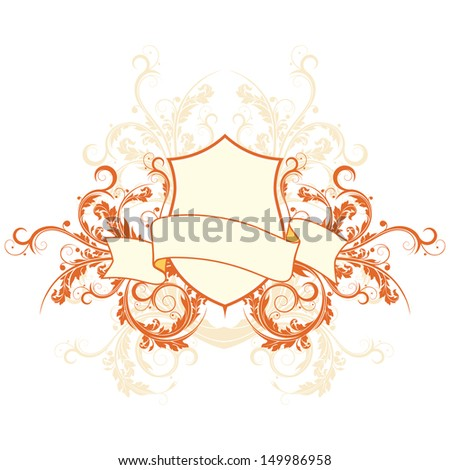retro style shield and banner with flowers - stock photo