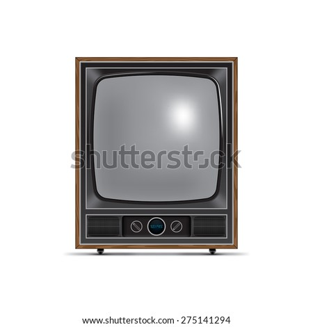 retro style tv with square screen - stock photo