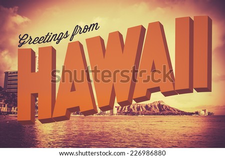 Retro Style Vintage Postcard With Greetings From Hawaii - stock photo