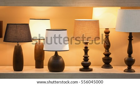 Charming Retro Style Wooden Desk Lamps With Many Lampshade Colors Decorated In  Bedroom.