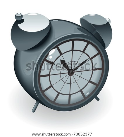 Retro-styled alarm clock. Raster version. Vector version is also available. - stock photo