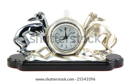 Retro-styled clock with two steel dogs figure