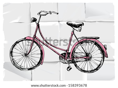 Retro-styled hand drawn bicycle