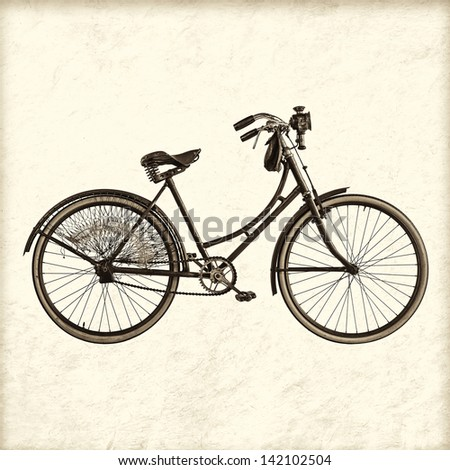 Retro styled image of a vintage early twentieth century Dutch lady bicycle with lantern - stock photo
