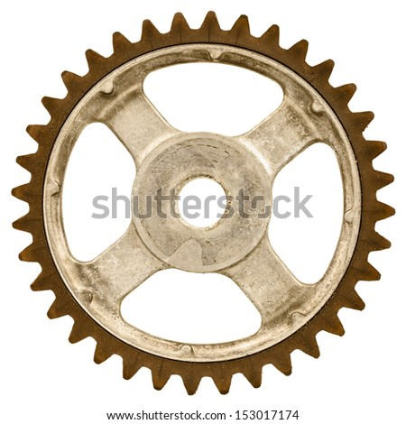 Retro styled image of an old gear wheel isolated on a white background - stock photo