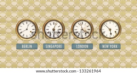 Retro styled image of old clocks with world times against a retro wallpaper - stock photo