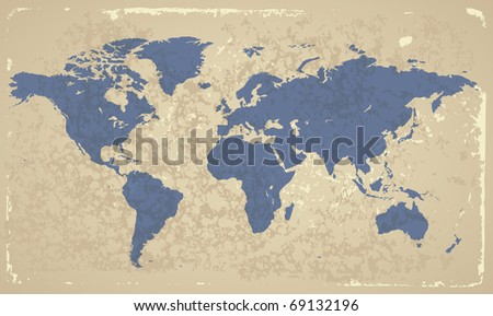 Retro-styled map of the World. Raster version. Vector version is also available. - stock photo