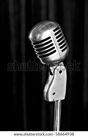 retro styled microphone b&w - stock photo