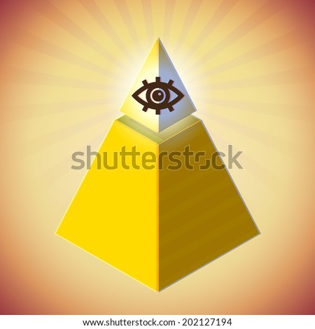 Retro styled poster with all seeing eye and golden pyramid - stock photo