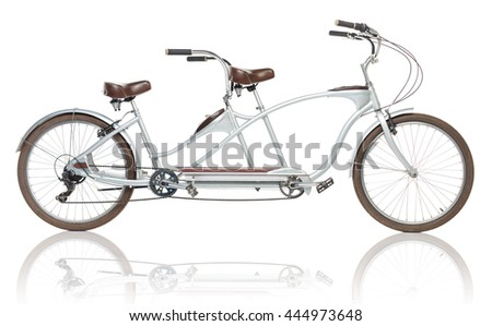 Retro styled tandem bicycle isolated on a white background