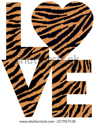 Retro-styled text design of LOVE with a heart symbol in an animal print pattern. - stock photo