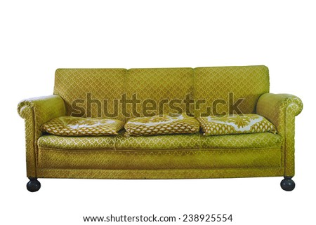 retro stylish yellow armchair isolated on white - stock photo