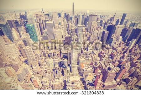 Retro stylized aerial view of Manhattan, New York City, USA. - stock photo