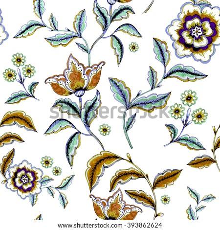 Retro stylized flower pattern - illustration - stock photo