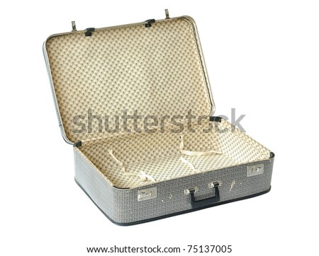 Retro Suitcase opened isolated over white. With Clipping Path - stock photo