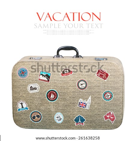 retro suitcase with stickers isolated on white background. Text for example, and can be easily removed - stock photo
