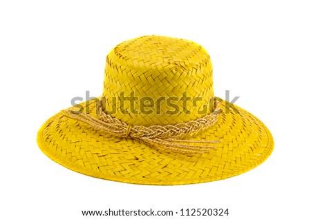 retro summer lady hat isolated on white background - stock photo