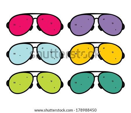 retro sun glasses in doodle style - stock photo