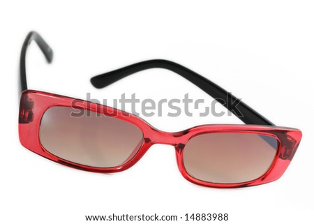 Retro sunglasses, black and red color isolated on white