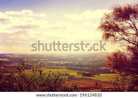 Retro sunset filter style scenic views overlooking Barossa Valley, South Australian prominent wine growing region - stock photo