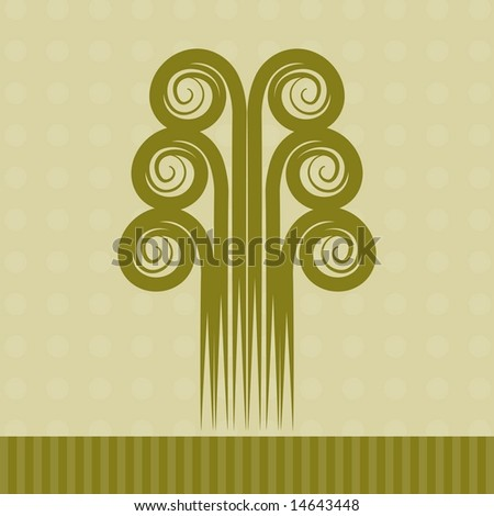 Retro swirly tree in black and white; JPEG/TIFF format (Image ID for vector version: 14563537)