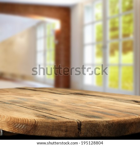 retro table and old big window  - stock photo