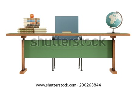 Retro teacher's desk with books,apple and globe isolated on white-rendering - stock photo