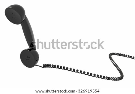 retro telephone handset and cable, isolated, white background. - stock photo