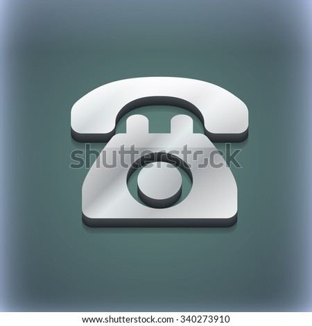 Retro telephone icon symbol. 3D style. Trendy, modern design with space for your text illustration. Raster version - stock photo