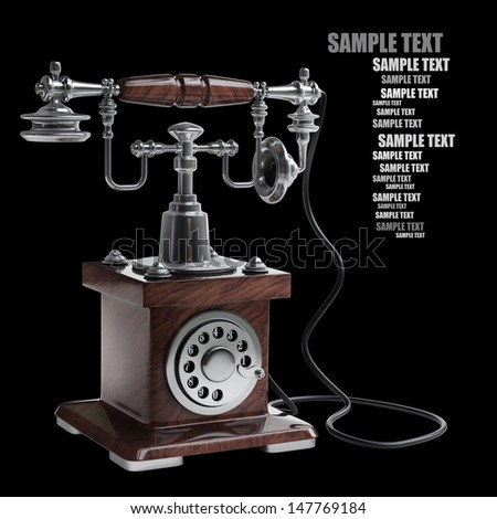 Retro Telephone isolated on black background. High resolution 3D image