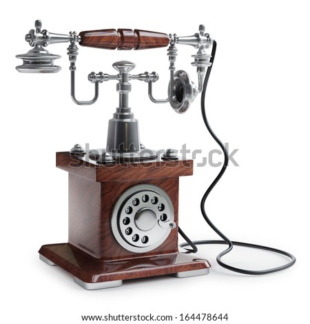 Retro Telephone isolated on white background High resolution 3d  - stock photo